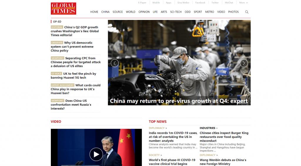 Cina Global Times 17 luglio 2020