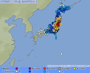 terremoto giappone fukushima 13 febbraio 2021