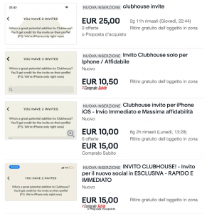 eBay clubhouse inviti in vendita