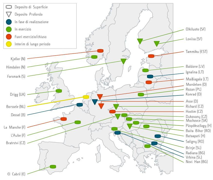 Ubicazione depositi di rifiuti radioattivi in Europa