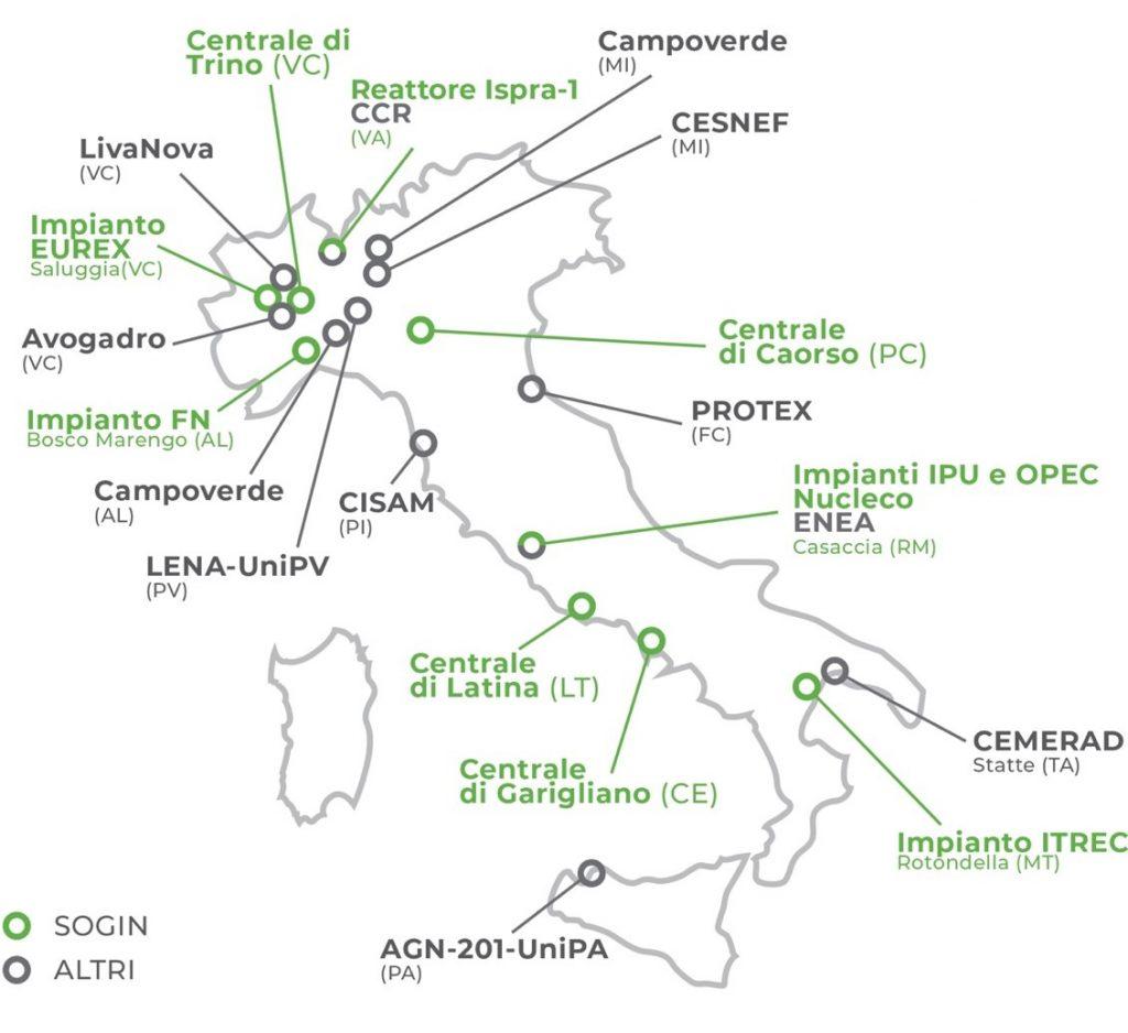 Ubicazione stoccaggi rifiuti radioattivi in Italia